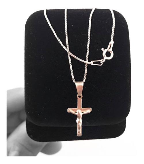 Corrente Cordão Prata 925 Masculino Original 60cm+crucifixo