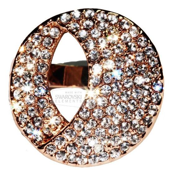 Anillo Cristales Swarovski Elements Oro Rosado Lunas Ase114