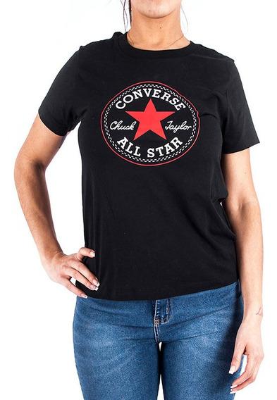 Remera Converse Urbana Logo Negro Rojo Mujer Rcmdr