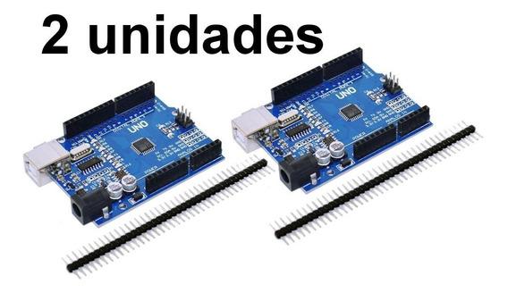 2x Arduino Uno Rev3 R3 Atmega328 Smd Sem Cabo Usb