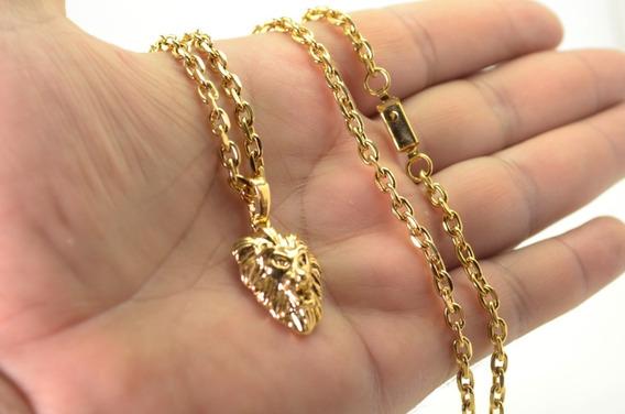 Cordão Corrente 5mm 60cm Face De Leão Banhados Ouro 18k!!!