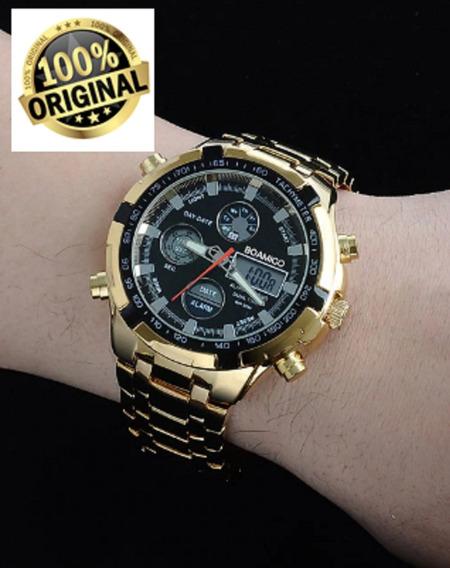 Relógio Super Estiloso Banhado A Ouro Dourado