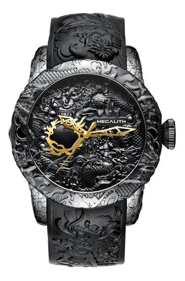 Relógio Dragão Yakuza Preto Pulseira De Resina Detalhes Japa