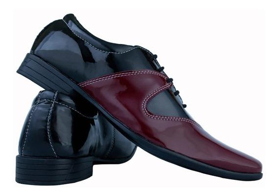 Sapato Masculino Cadarço Xadrez Social Bico Fino