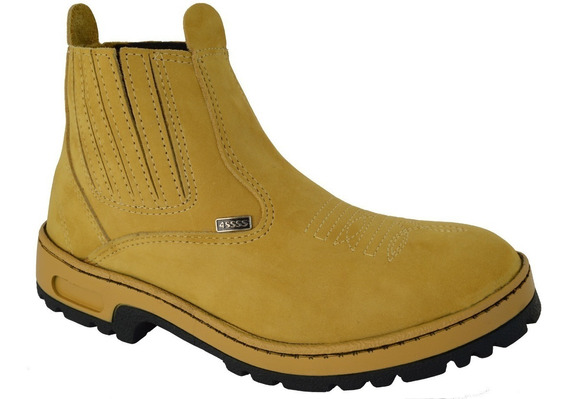 Bota Botina Em Couro Legitimo Abufalado 4ssss Preta Marrom E Amarela Solado Bicolor Com E Sem Bordado B5493