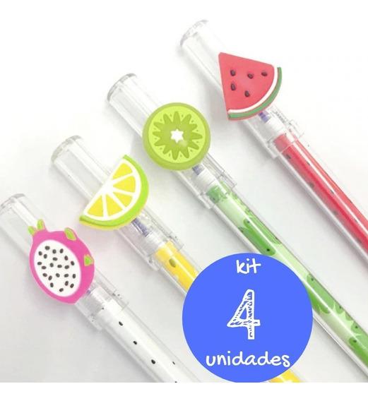 Kit Caneta Gel Fruta Melancia Limão Pitaya Kawaii Escola 4un
