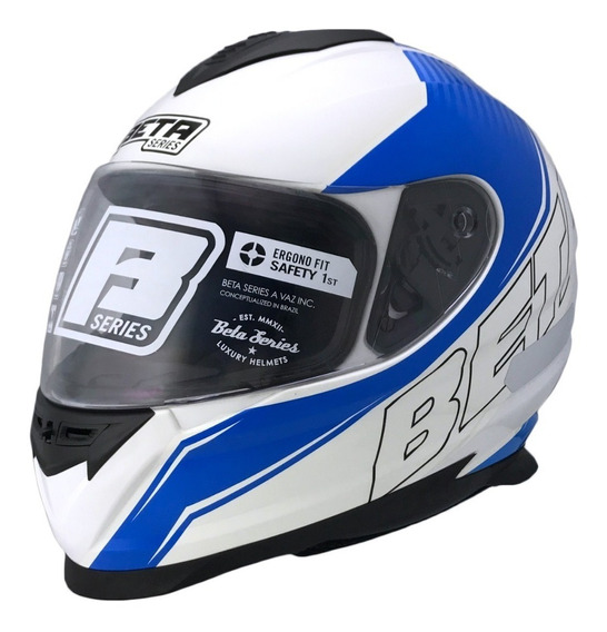Capacete Moto Vaz V15 M15 Branco Racer Azul 60e