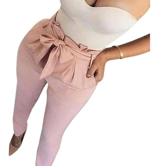 Calça Justa Cintura Alta Bengaline Moda Feminina