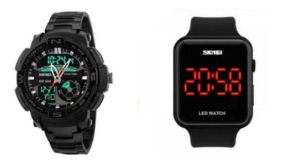 Relógio Masculino Kit Skmei 1121 + Skmei Digital 1176