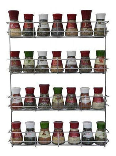4 Tier Spice Rack - Cabinet Door And Wall Mountable Spice Ra