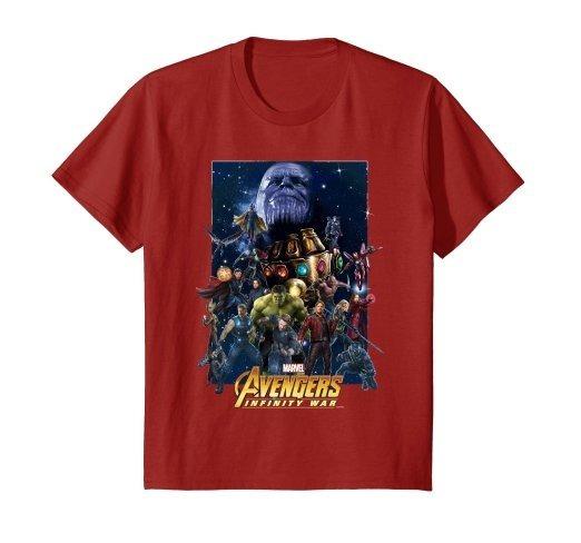 Camiseta Avengers Infinity War Team Marvel Rojo Vino N