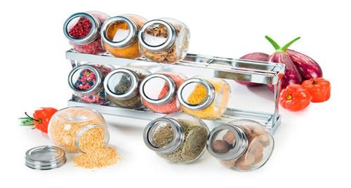 Condimentero Acero Y Vidrio 10 Piezas + Base