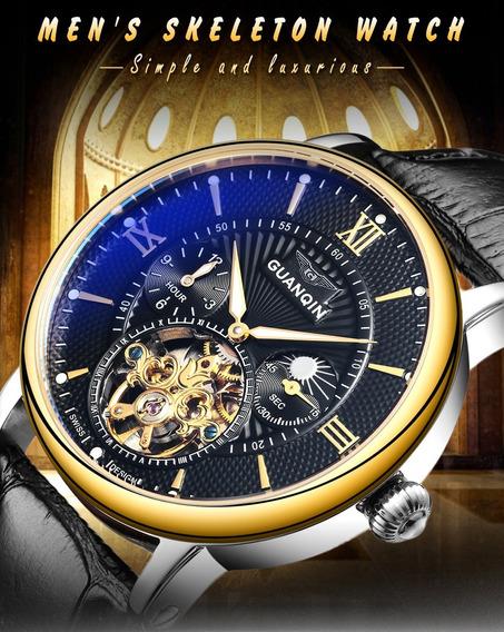 Relógios Top Marca De Luxo Guanqin Tourbillon Couro Original