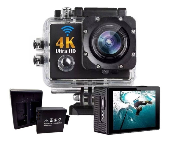 Câmera Filmadora Hd 4k Sport Stand + Carregador + Bateria