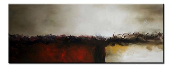 Quadro Pintura Tela Abstrato Vermelho Preto 50x140 Cm