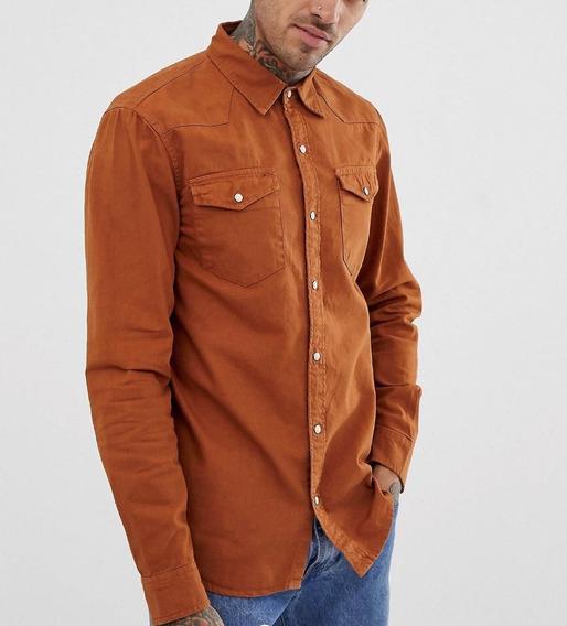 Camisa Jeans Premium Caramelo Masculina Slim Fit Offert
