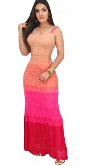 Vestido Longo Alça Estampa Tie Dye Colorido Ref: 890