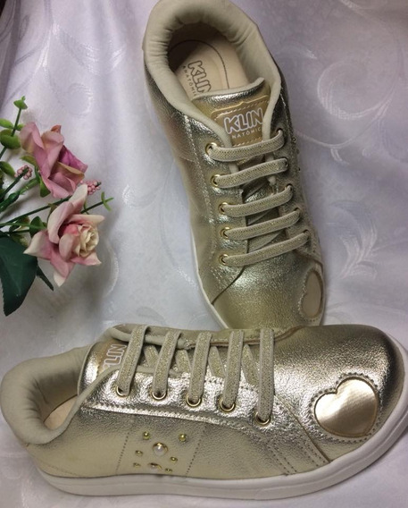 Tênis Casual Gloss Street Dourado Klin Com Cadarço Elástico Detalhe Coração