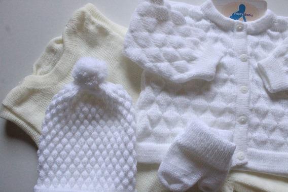 Conjunto Maternidade Casaco Salopete Touca Luvas Coordenados