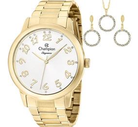 Relógio Champion Feminino Dourado Cn26000w + Kit