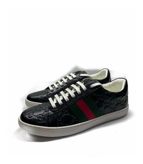 Tenis Gucci Grabados Negros Completos