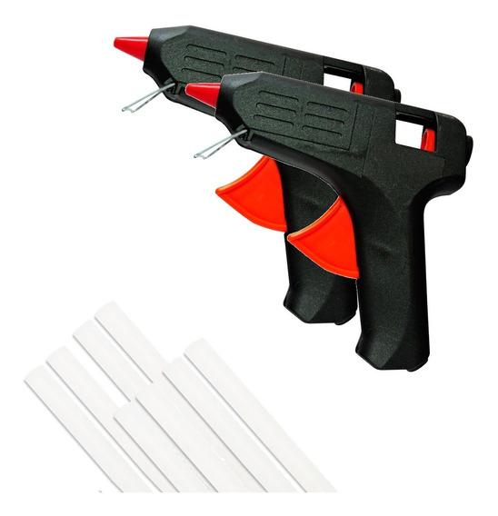 Kit 2 Pistolas De Cola Quente 10w C/ 8 Bastões De Cola
