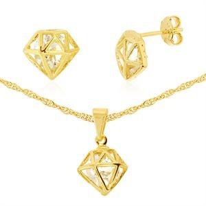 Conjunto Colar E Brinco Diamante Vazado