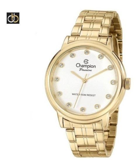 Relogio Champion Dourado Cn29874w + Pulseira Luxo Berloque