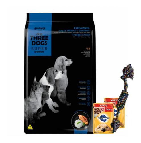 Imagen 1 de 1 de Three Dogs Super Premium Cachorros 17kg +salsas+regalo+envío