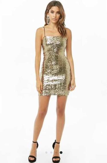 Vestido Forever 21 Talles M, Color Dorado