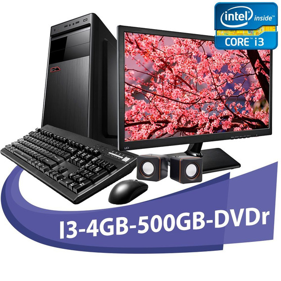 Computador Micro Rio I3 4gb Hd 500gb + Kit+dvd+moni De 15