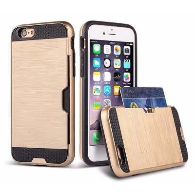 Case Capa Proteção Porta Cartões Dourado Para Apple iPhone 6
