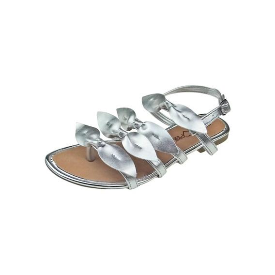 Sandália Rasteira Com Laços - Prata