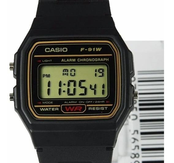 Relógio Casio Original F-91wg-9q Série Ouro Prova D`água