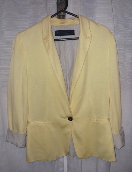 Blazer Zara Amarillo Para Mujer, Talle Large