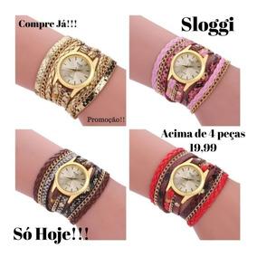 Kit 4 Relógio Feminino Dourado Bracelete Pulseira Couro
