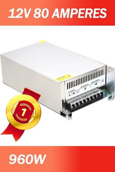 Fonte Chaveada Estabilizada 12 Volts 80 Amper 960w Potência Cooler Resfriamento 110v-220v Bivolt