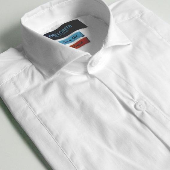 Camisa Básica Phillgreen Manga Larga C/ Línea Vertical