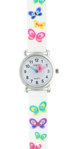 Imagen 1 de 4 de Reloj Para Niños De Agujas Con Mariposas Marca Status K01