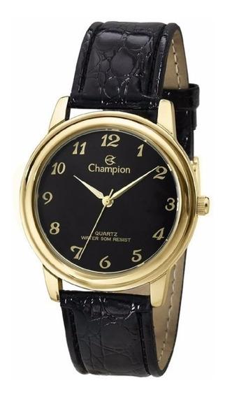 Relógio Champion Dourado Pulseira Couro Preto Ch22153p