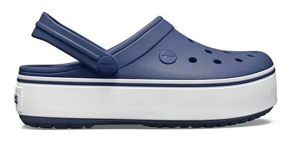 Crocs Band Plataforma Azul/blanco - Envio Gratis