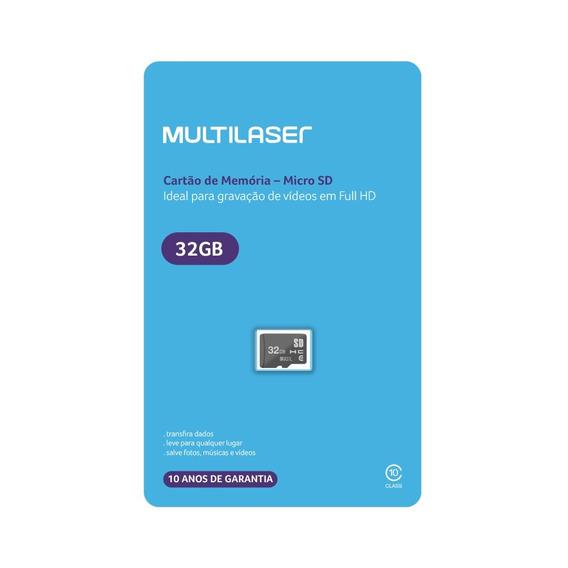 Cartão De Memória Micro Sd 32gb Classe 10 Mc145 Multilaser