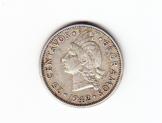República Dominicana. Moneda D25 Centavos. 1942. Plata. (#).