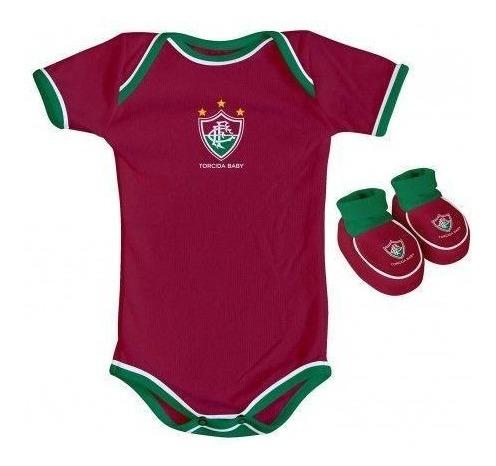 Kit Body E Pantufa Fluminense Grená Oficial - Torcida Baby