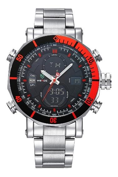 Relógio Masculino Weide Anadigi Wh-5203 - Prata E Vermelho