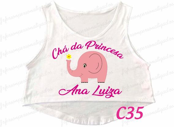 Camiseta Cropped Regata Chá De Bebê Menina Gestante