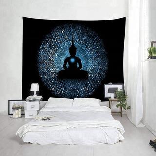 Diseño Textil De Pared/yoga/buda/negro/azul/decoración/hogar