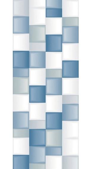 Porcelanato Europeo 25x75 Blanco Y Azul Pulido