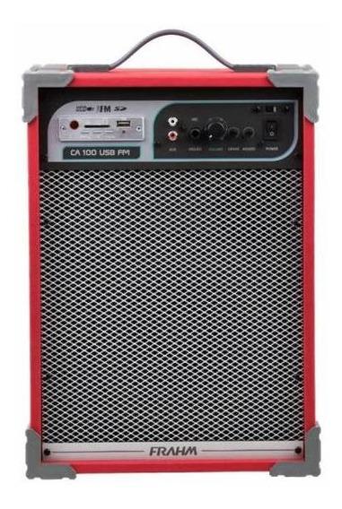 Caixa De Som Amplificada Frahm Ca 100 Vermelha Usb, Sd, Fm
