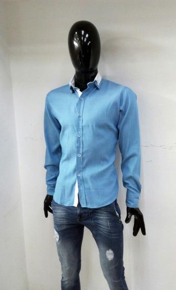 Bonita Camisa Slim Fit Azul Con Cuello Blanco Manga Larga